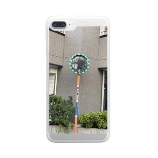 十字路のミラー Clear smartphone cases