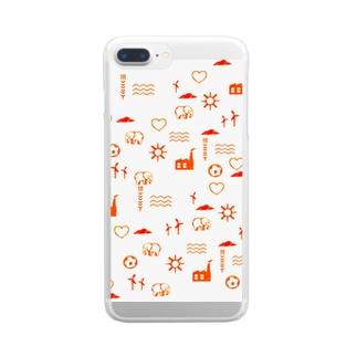 スタンプ模様風iPhoneケース Clear smartphone cases