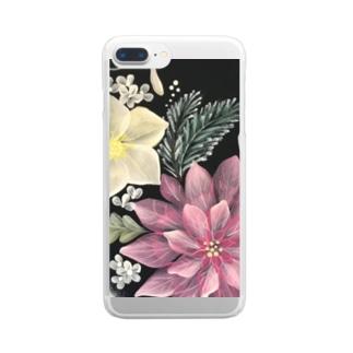 ポインセチアのスマホケース Clear smartphone cases