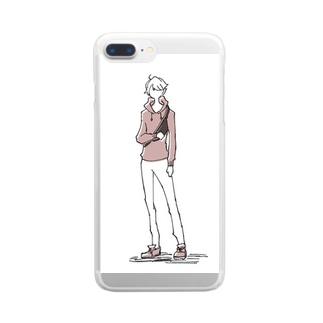 るーく屋のダスティピンクの男の子 Clear smartphone cases