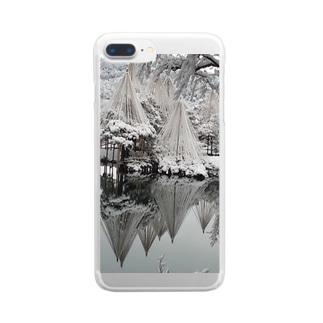 雪の兼六園 Clear smartphone cases