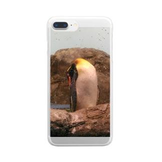 お昼寝ペンギン(写真) Clear smartphone cases