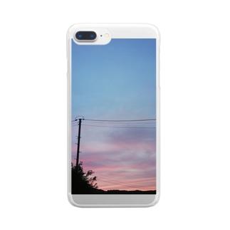 秋空の夕日 Clear smartphone cases