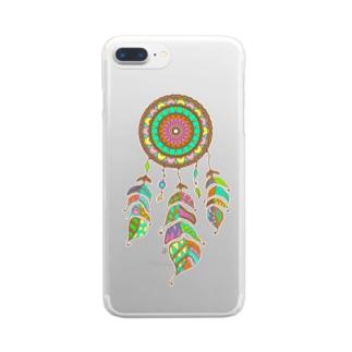 カラフルドリームキャッチャー Clear smartphone cases