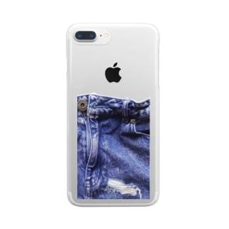 ジーンズ リボンなし Clear smartphone cases