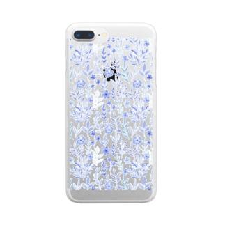 お花 パターン 透明スマホケース Clear smartphone cases