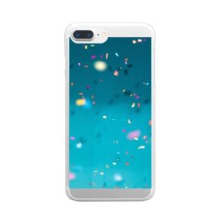 青にカラフルなひらひら Clear smartphone cases