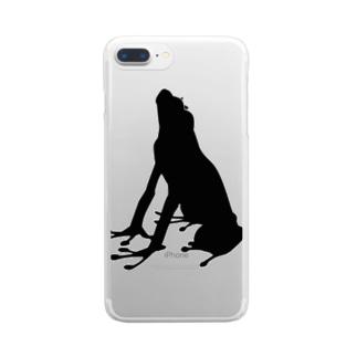 カエル_シルエット Clear smartphone cases
