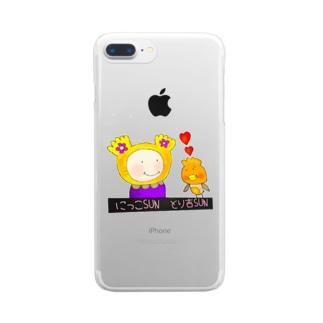 にっこSUNととり吉SUN ぬりえver Clear smartphone cases