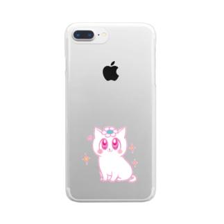 ピンクの花猫ちゃん Clear smartphone cases