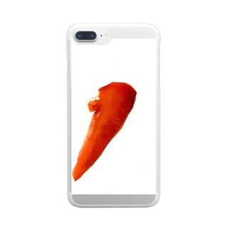 片方ぷっくりにんじん Clear smartphone cases