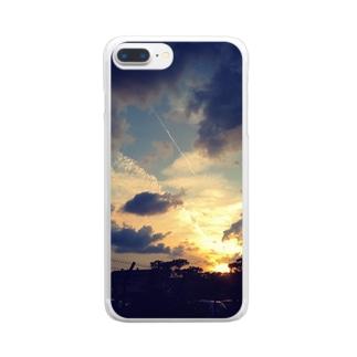 海沿いの夕焼け Clear smartphone cases