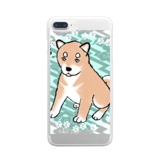 うちの子ワンファイ 柴犬くん Clear smartphone cases