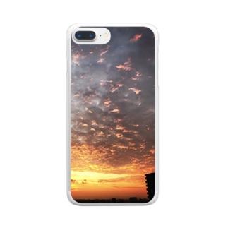 サンライズ、サンセット、朝焼け、夕焼け Clear smartphone cases