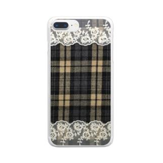 チェック&レース Clear smartphone cases
