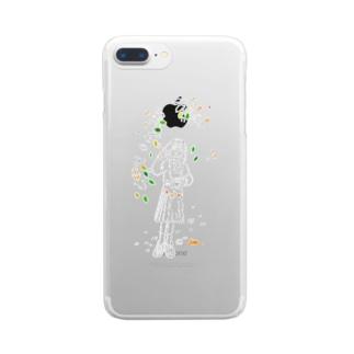 金木犀につつまれてこんイラスト Clear smartphone cases