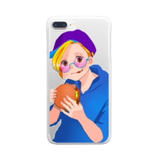 Hamburger girl clear Clear smartphone cases