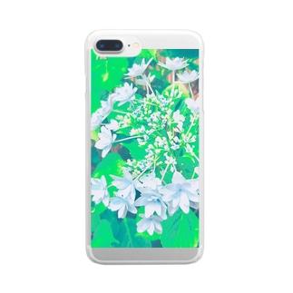 ガクアジサイ 青 Clear smartphone cases