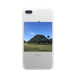 ハワイ モンキーポッド Clear smartphone cases