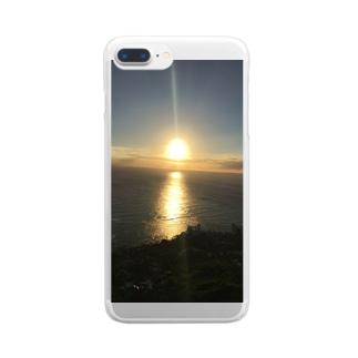 ダイヤモンドヘッドで見る夕日 Clear smartphone cases