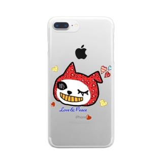 LovePeaceねこかぶりちゃん Clear smartphone cases