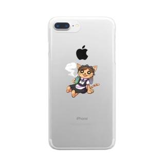 大麻おティー🌱×キメねこ コラボグッズ Clear smartphone cases