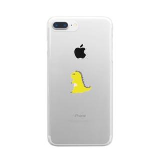 namunamuのドット恐竜 1匹 黄色 イエロー Clear smartphone cases