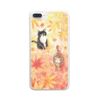 トロとクロの紅葉狩り Clear smartphone cases