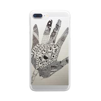 手書きの手 Clear smartphone cases