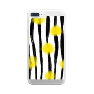 ランダムストライプドットイエロー Clear smartphone cases