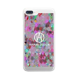 AWAKE モザイクドットカラフルピック Clear smartphone cases