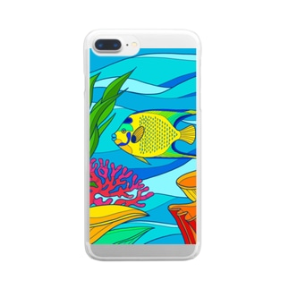 クイーンエンゼルフィッシュ-カラフル Clear smartphone cases