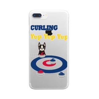 カーリングとじゃまなボストンテリア Clear smartphone cases