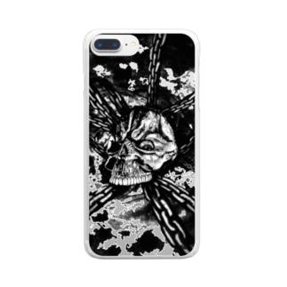 チェーン スカル(モノクロ) Clear smartphone cases