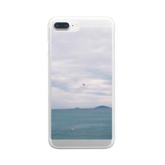 くもりの海でパラシュート Clear smartphone cases