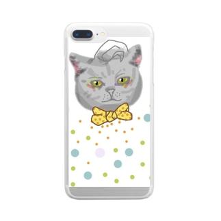 トラッド ドット キャット Clear smartphone cases