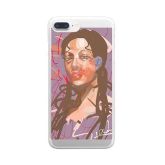 気怠げな女の子 Clear smartphone cases