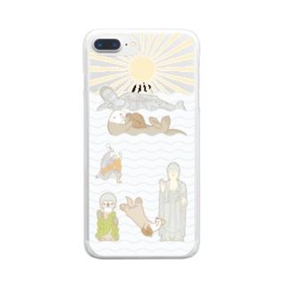 ラッコ+仏像 Clear smartphone cases