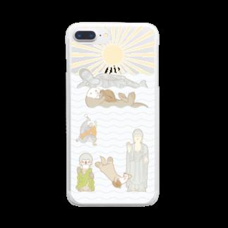 ザ・ワタナバッフルのラッコ+仏像 Clear smartphone cases