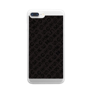 uchuFONTblack Clear smartphone cases