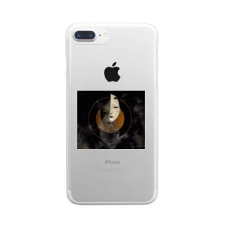 「月と小面」 Clear smartphone cases