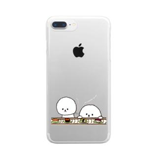 ビションフリーゼ お寿司 Clear smartphone cases