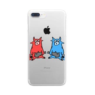赤鬼と青鬼 Clear smartphone cases