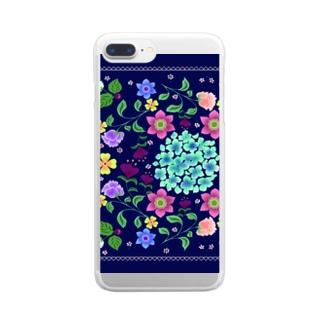 フラワーカーニバル Clear smartphone cases