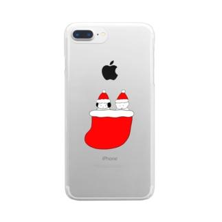 くつしたクリスマス Clear smartphone cases
