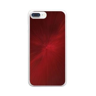 放射状 赤 Clear smartphone cases