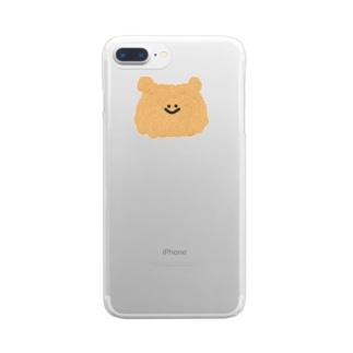 くまの顔 Clear smartphone cases