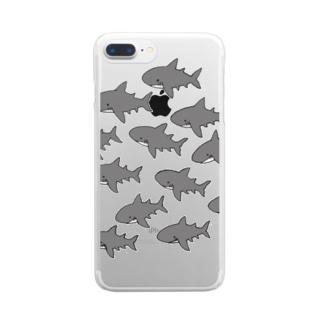 ふわふわ ホオジロザメだらけ スマホケース Clear smartphone cases
