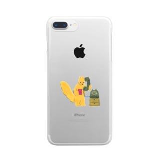 モシモシ(黒電話とリス) Clear smartphone cases