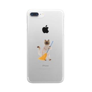 そうじねこ Clear smartphone cases